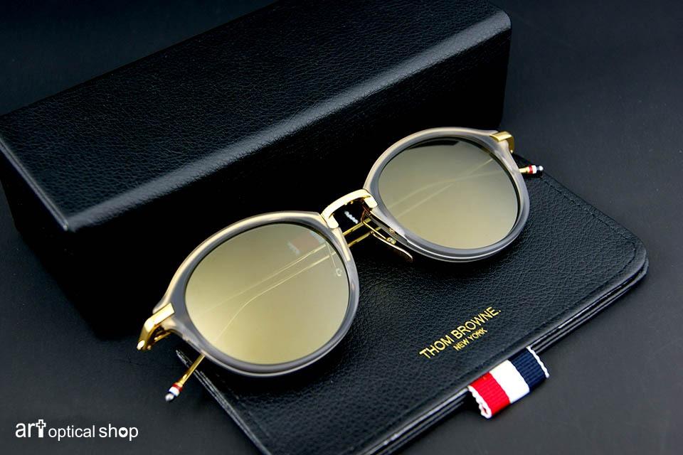 THOM BROWNE - TB 011 G-T - 水晶灰鏡框、18K金邊框 春夏款太陽眼鏡