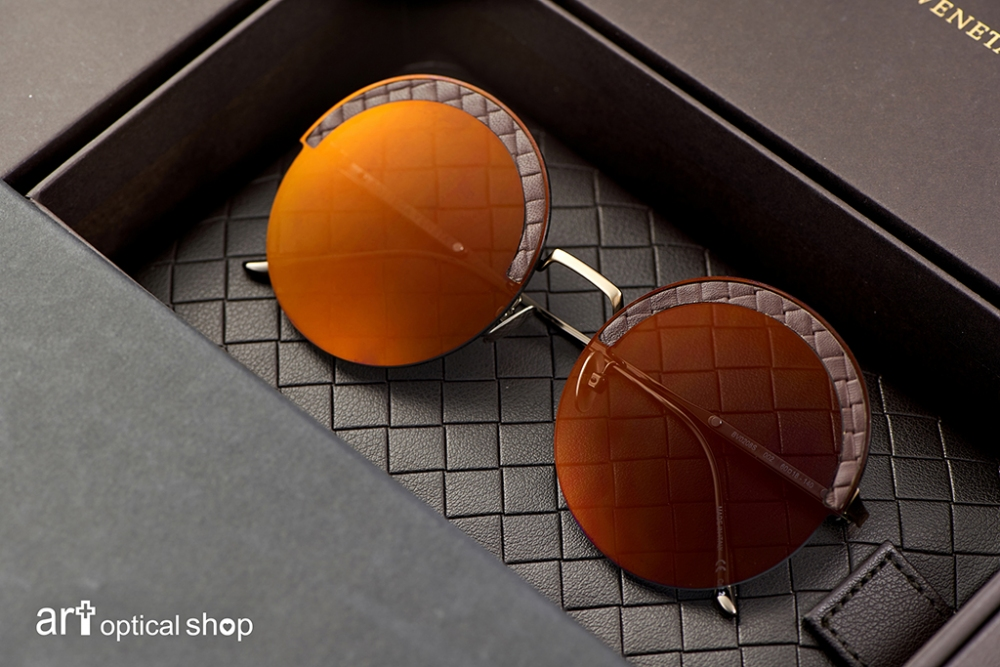 BOTTEGA VENETA-BV-0208S-002-圓形皮革交織紋太陽眼鏡