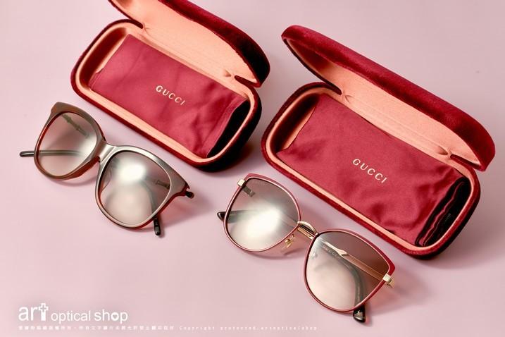 GUCCI-GG0655SA-002-GG0589SK-004-酒紅色方形及貓眼太陽眼鏡