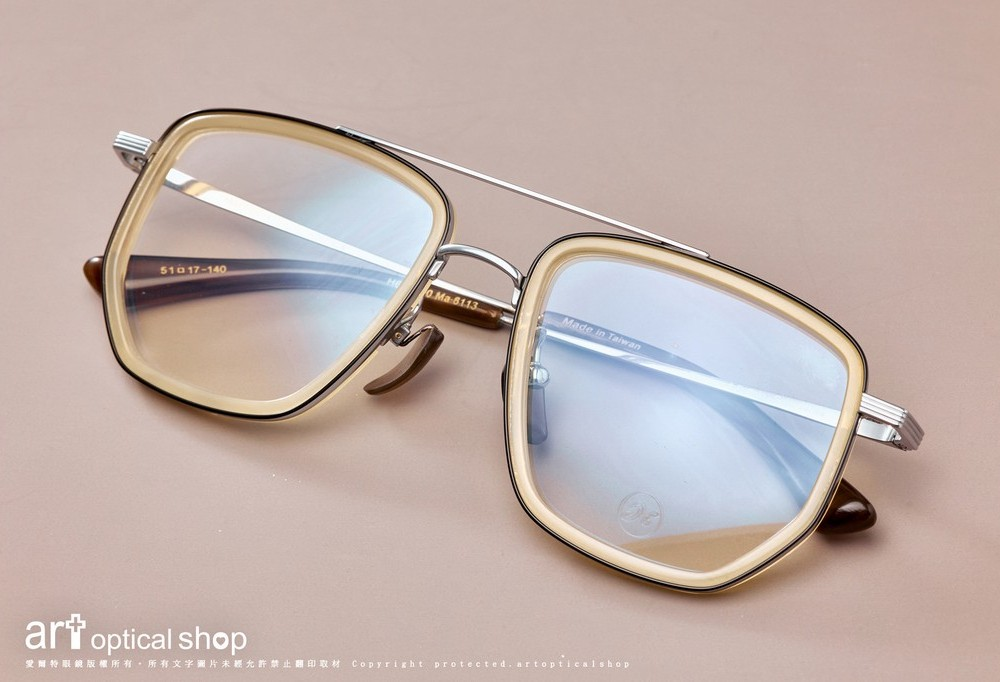 MAFFEE H662700 雙槓鈦金屬方框複合材質牛角眼鏡