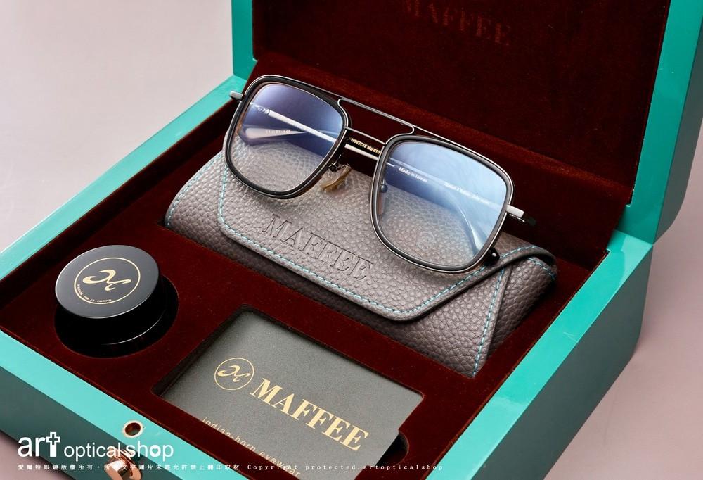 MAFFEE H662738 雙槓鈦金屬方框複合材質牛角眼鏡